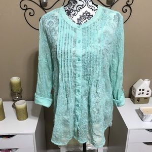 Chico's Blue Sheer Embroidered Button Down 2
